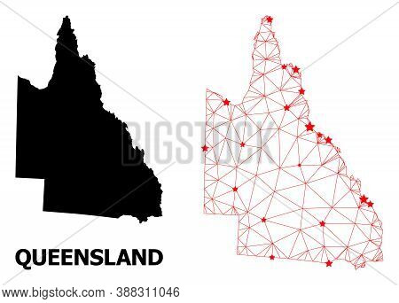 Carcass Polygonal And Solid Map Of Australian Queensland. Vector Structure Is Created From Map Of Au