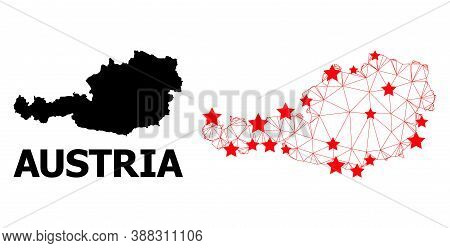 Mesh Polygonal And Solid Map Of Austria. Vector Model Is Created From Map Of Austria With Red Stars.