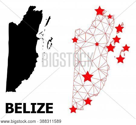 Wire Frame Polygonal And Solid Map Of Belize. Vector Structure Is Created From Map Of Belize With Re