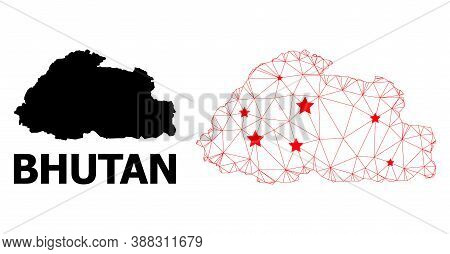 Network Polygonal And Solid Map Of Bhutan. Vector Model Is Created From Map Of Bhutan With Red Stars