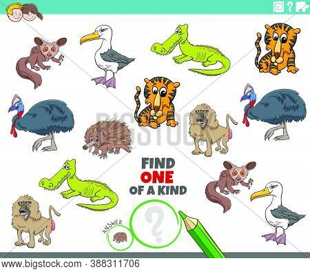Cartoon Illustration Of Find One Of A Kind Picture Educational Game With Comic Wild Animal Character