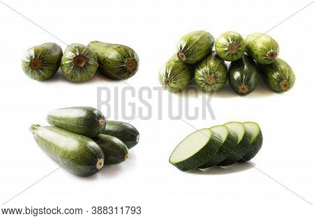 Fresh Zucchini Isolated On A White Background. Design Element For Product Label. Green Zucchini Vege