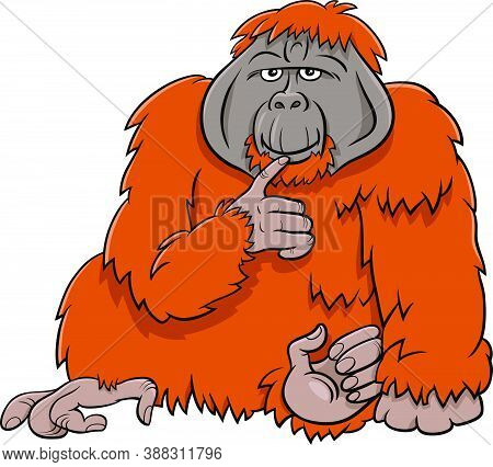 Cartoon Illustration Of Funny Orangutan Ape Wild Animal Character