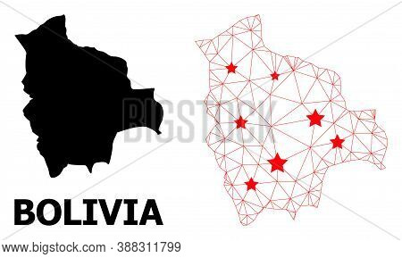 Wire Frame Polygonal And Solid Map Of Bolivia. Vector Structure Is Created From Map Of Bolivia With
