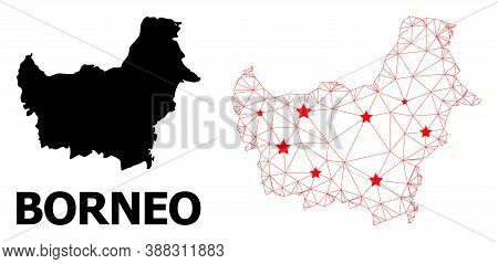 Network Polygonal And Solid Map Of Borneo Island. Vector Structure Is Created From Map Of Borneo Isl