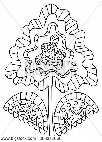 Unusual Fantasy Ornamental Flower Coloring Page. Detailed Blossom Flower With Two Leaves Black Outli