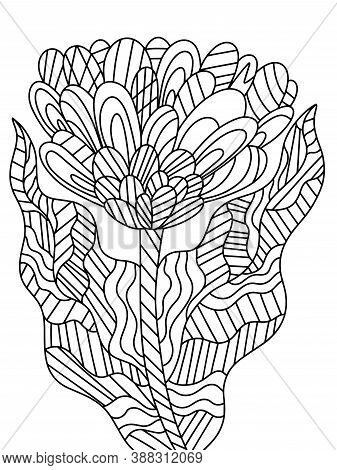 Fancy Flower Coloring Page For Kids And Adults Stock Vector Illustration. Fantasy Flower With Two Le