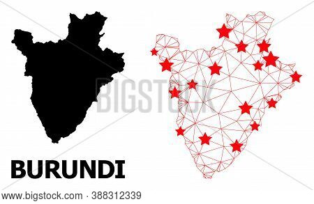 Carcass Polygonal And Solid Map Of Burundi. Vector Structure Is Created From Map Of Burundi With Red