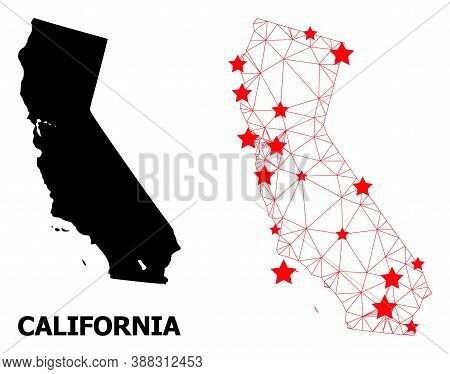 Mesh Polygonal And Solid Map Of California. Vector Structure Is Created From Map Of California With