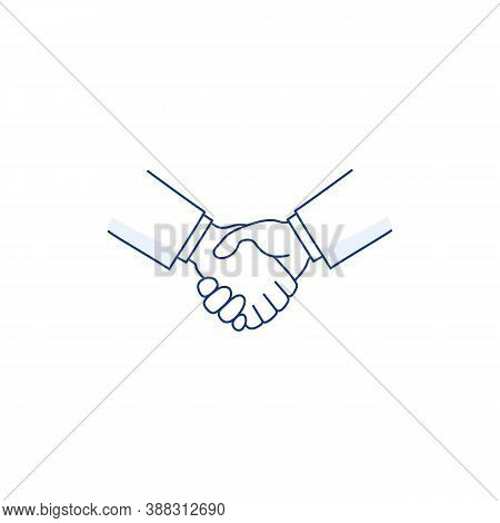 Handshake Thin Line Icon Isolated On White. Deal Agreement Partnership Symbol. Men Shaking Hands. Bu