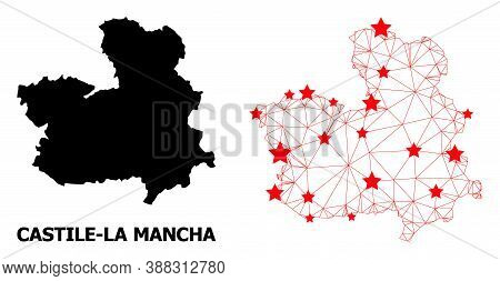 Wire Frame Polygonal And Solid Map Of Castile-la Mancha Province. Vector Structure Is Created From M