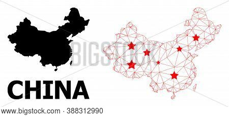Mesh Polygonal And Solid Map Of China. Vector Model Is Created From Map Of China With Red Stars. Abs