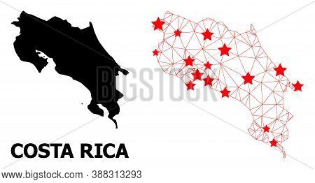 Wire Frame Polygonal And Solid Map Of Costa Rica. Vector Structure Is Created From Map Of Costa Rica
