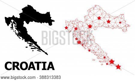 Mesh Polygonal And Solid Map Of Croatia. Vector Model Is Created From Map Of Croatia With Red Stars.