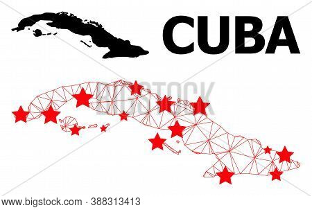 Mesh Polygonal And Solid Map Of Cuba. Vector Structure Is Created From Map Of Cuba With Red Stars. A