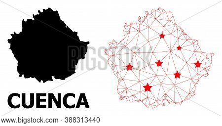 Carcass Polygonal And Solid Map Of Cuenca Province. Vector Model Is Created From Map Of Cuenca Provi