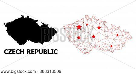Wire Frame Polygonal And Solid Map Of Czech Republic. Vector Model Is Created From Map Of Czech Repu