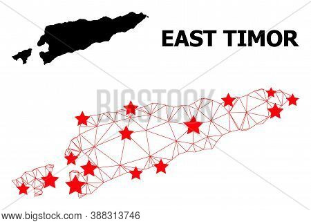 Carcass Polygonal And Solid Map Of East Timor. Vector Model Is Created From Map Of East Timor With R
