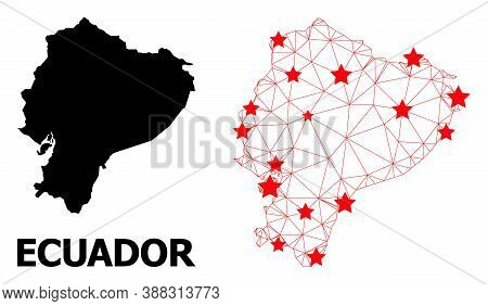 Mesh Polygonal And Solid Map Of Ecuador. Vector Model Is Created From Map Of Ecuador With Red Stars.
