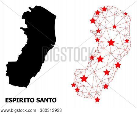 Wire Frame Polygonal And Solid Map Of Espirito Santo State. Vector Model Is Created From Map Of Espi