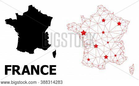 Carcass Polygonal And Solid Map Of France. Vector Structure Is Created From Map Of France With Red S