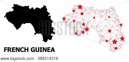 2d Polygonal And Solid Map Of French Guinea. Vector Structure Is Created From Map Of French Guinea W