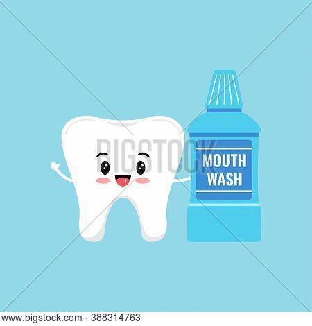 Cute Tooth Holding Mouthwash Bottle Isolated On Blue Background. Flat Design Cartoon Kawaii Style Sm