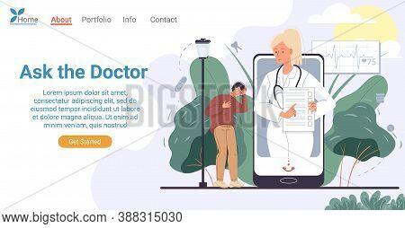 Online Doctor Consultation Via Mobile Phone Landing Page. Mobile Medical Service Concept. Sick Man P