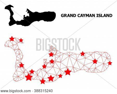 Wire Frame Polygonal And Solid Map Of Grand Cayman Island. Vector Model Is Created From Map Of Grand