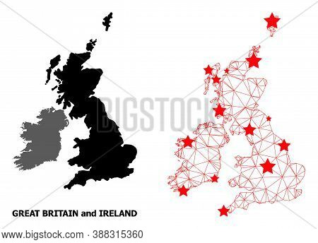 2d Polygonal And Solid Map Of Great Britain And Ireland. Vector Model Is Created From Map Of Great B