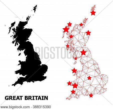 Carcass Polygonal And Solid Map Of Great Britain. Vector Model Is Created From Map Of Great Britain