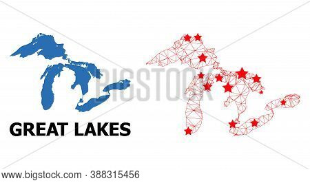 Wire Frame Polygonal And Solid Map Of Great Lakes. Vector Structure Is Created From Map Of Great Lak