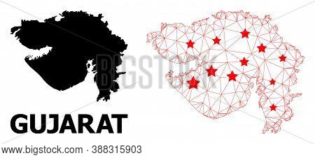 Carcass Polygonal And Solid Map Of Gujarat State. Vector Structure Is Created From Map Of Gujarat St