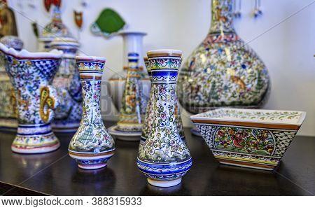 Porto, Portugal - June 1, 2018: Traditional Portuguese Ornate Pottery With Azulejo Design On Display