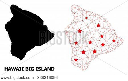 Wire Frame Polygonal And Solid Map Of Hawaii Big Island. Vector Model Is Created From Map Of Hawaii