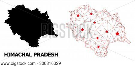 Wire Frame Polygonal And Solid Map Of Himachal Pradesh State. Vector Structure Is Created From Map O