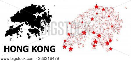 Carcass Polygonal And Solid Map Of Hong Kong. Vector Model Is Created From Map Of Hong Kong With Red