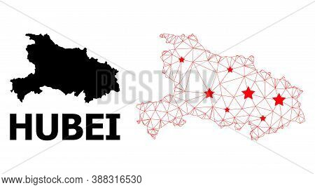 Wire Frame Polygonal And Solid Map Of Hubei Province. Vector Model Is Created From Map Of Hubei Prov