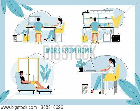 Work From Home Set. Man, Woman Freelancer, Self-employed Person Working Online From Laptop, Computer