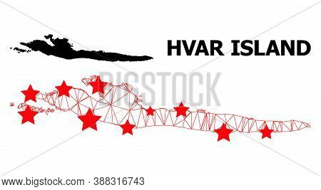 Carcass Polygonal And Solid Map Of Hvar Island. Vector Model Is Created From Map Of Hvar Island With
