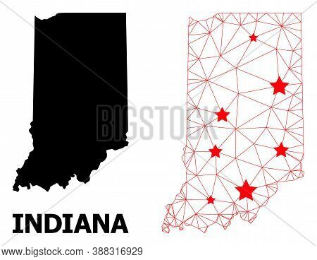 Network Polygonal And Solid Map Of Indiana State. Vector Structure Is Created From Map Of Indiana St