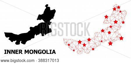 Wire Frame Polygonal And Solid Map Of Inner Mongolia. Vector Model Is Created From Map Of Inner Mong