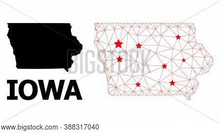 Wire Frame Polygonal And Solid Map Of Iowa State. Vector Model Is Created From Map Of Iowa State Wit