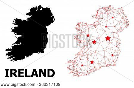 Wire Frame Polygonal And Solid Map Of Ireland Island. Vector Model Is Created From Map Of Ireland Is