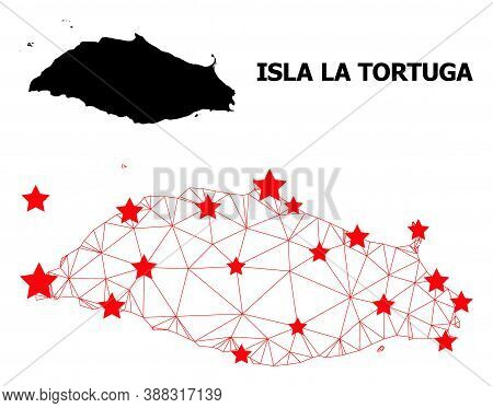 Carcass Polygonal And Solid Map Of Isla La Tortuga. Vector Model Is Created From Map Of Isla La Tort