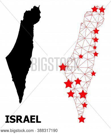 2d Polygonal And Solid Map Of Israel. Vector Structure Is Created From Map Of Israel With Red Stars.