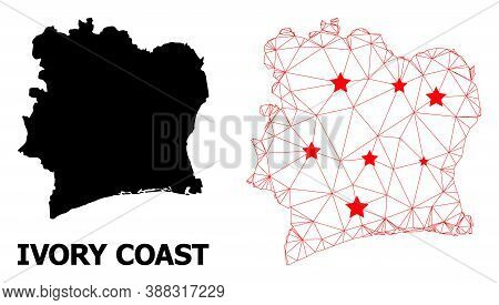 Carcass Polygonal And Solid Map Of Ivory Coast. Vector Structure Is Created From Map Of Ivory Coast