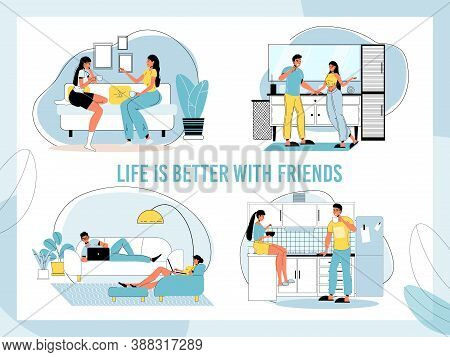 Friendship Relationship Lifestyle Set. Life Better With Friends Inspiration Quote Phrase. Teenager,
