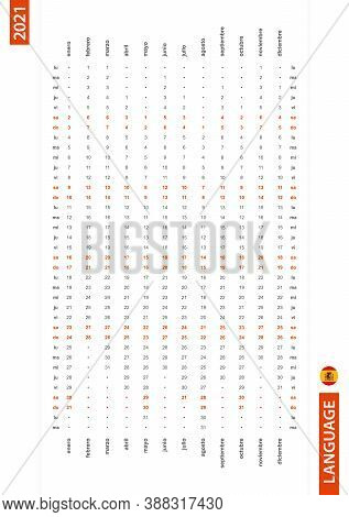 Spanish One Row Vertical Calendar 2021, Monday First Day Of The Week. Vector Calendar In Spanish Lan