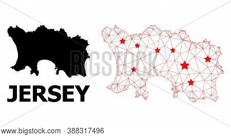 2d Polygonal And Solid Map Of Jersey Island. Vector Structure Is Created From Map Of Jersey Island W